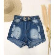 Short Jeans Barra Desfiada Fivela Dourada