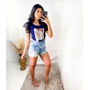 Short Jeans Marmorizada Com Cinto