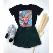 T-Shirt Garota Dos Quadrinhos Preta