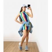 Vestido Canelado Gola Alta Arco-Íris