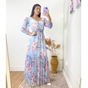 Vestido Longo Flores Azul Claro