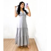 Vestido Longo Gola V Beatriz Cinza