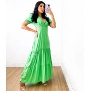 Vestido Longo Gola V Beatriz Verde Limão