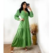 Vestido Longo Gola V Verde