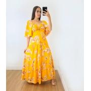 Vestido Longo Renata Flores Amarelo