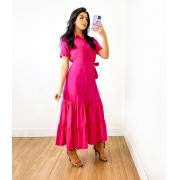 Vestido Midi Viscose Botões Rosa Escuro