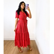 Vestido Midi Viscose Listras Botões Vermelho