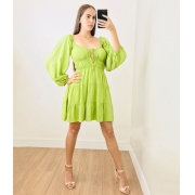 Vestido Viscose Decote Profundo Verde