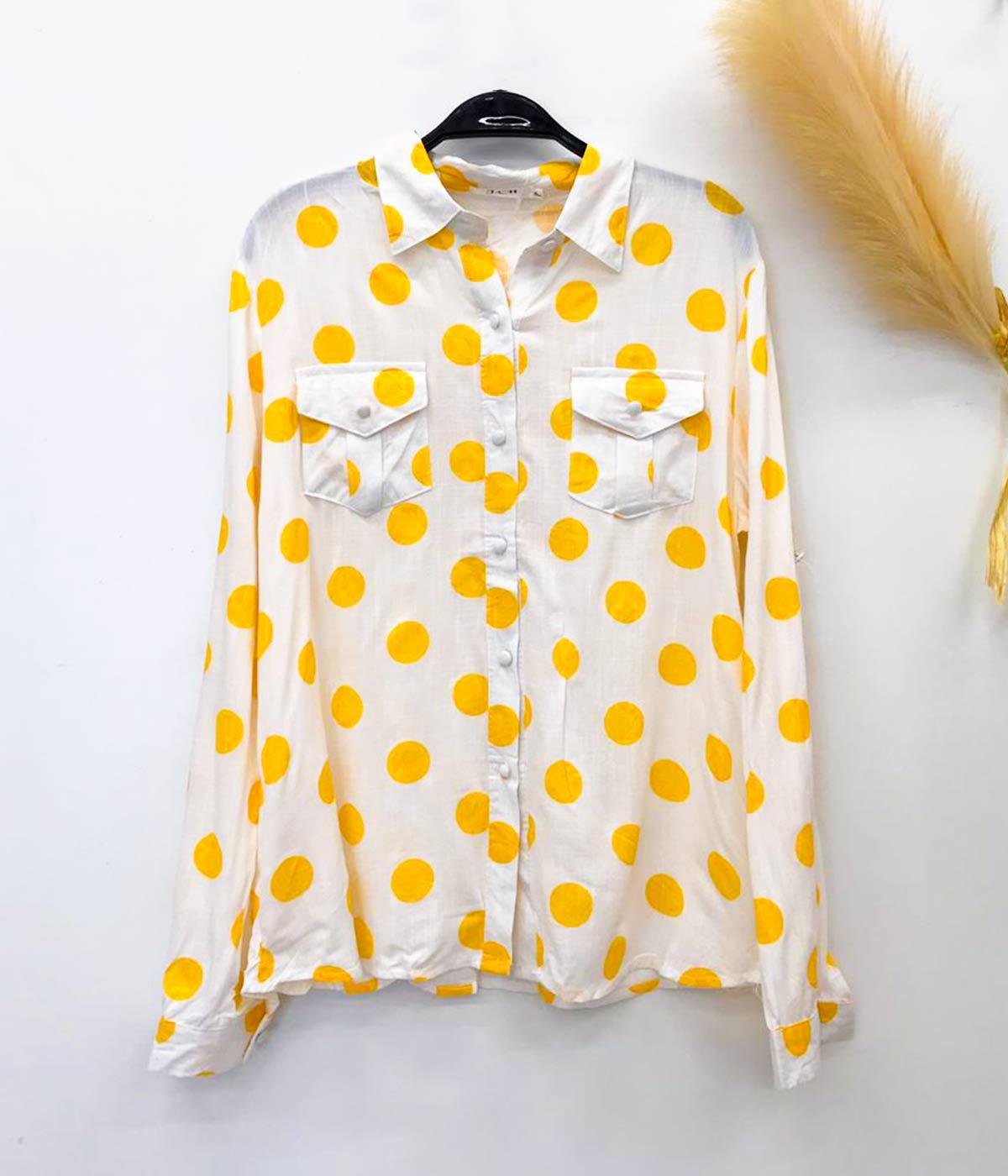 Blusa Social Botão Encapado Poá Amarelo