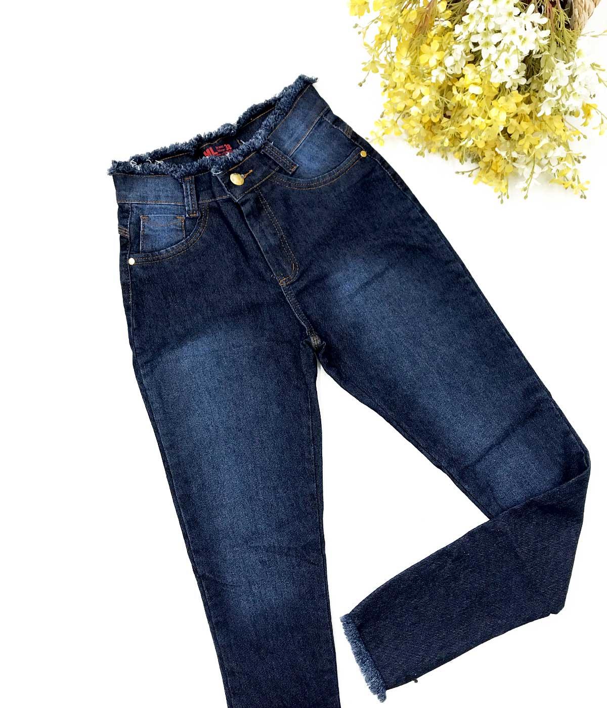 Calça Jeans Desfiado No Cós