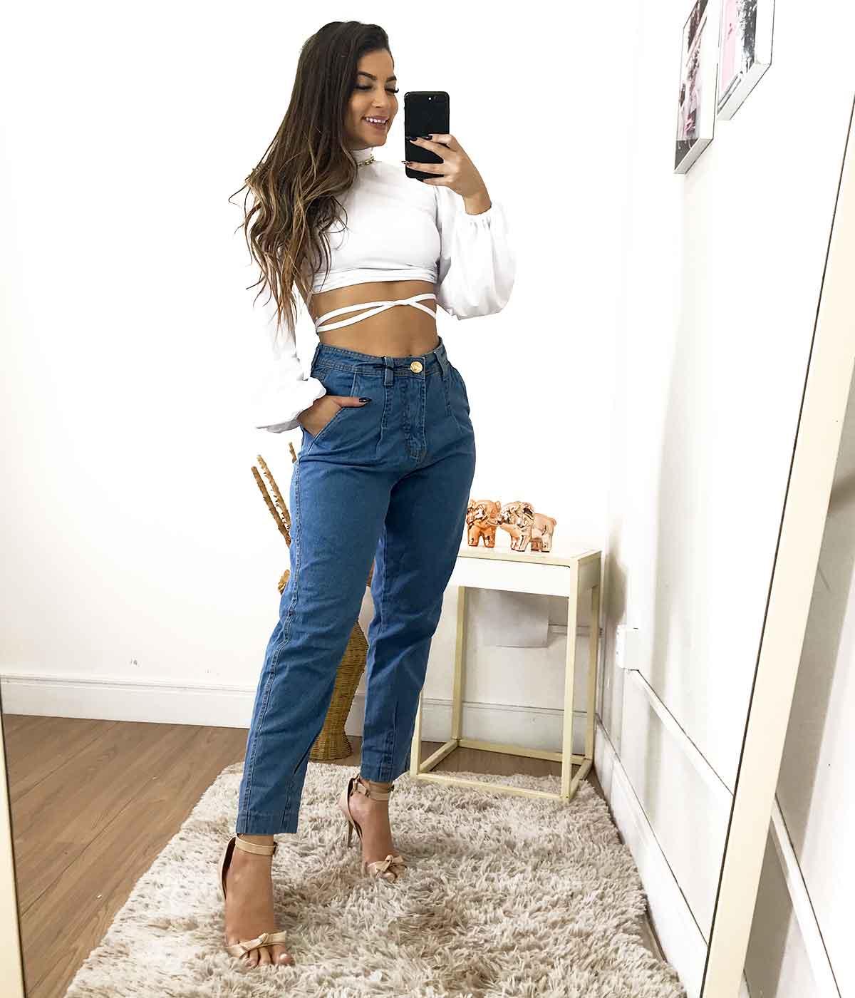 Calça Jeans Pregas