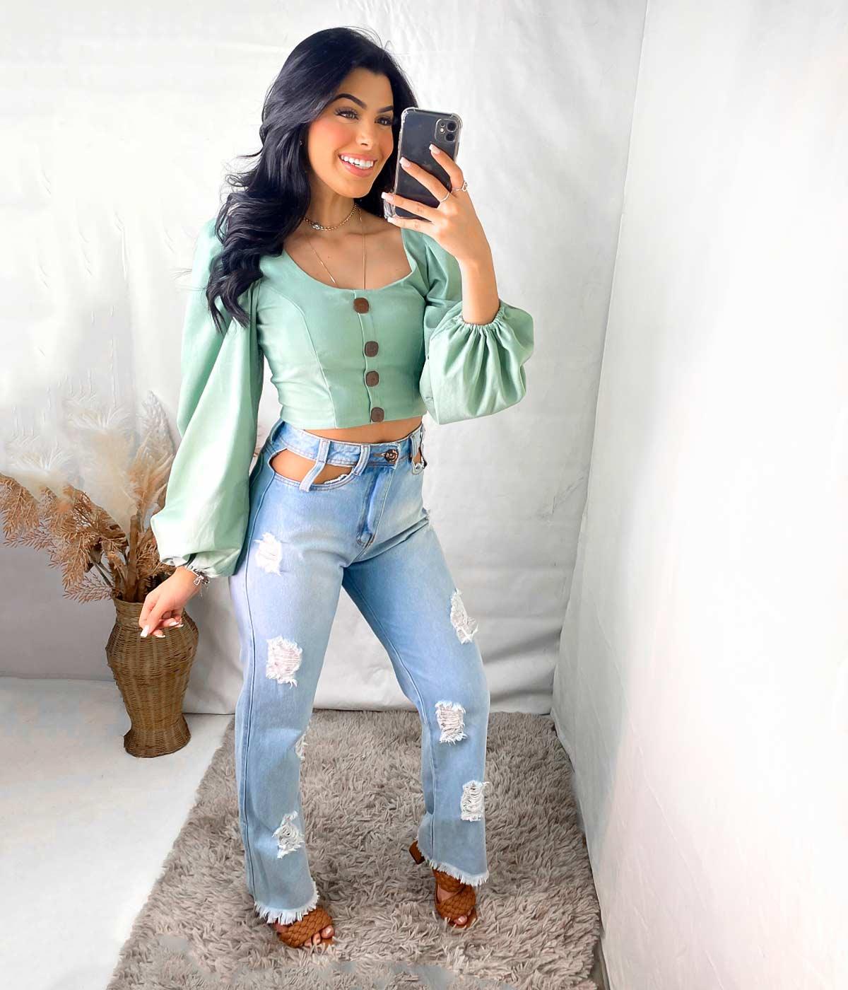 Calça Jeans Wide Leg Bolso Vazado destroyed