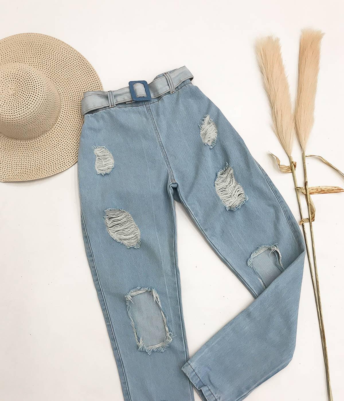 Calça Mom Jeans Destroyed Elástico Na Cintura