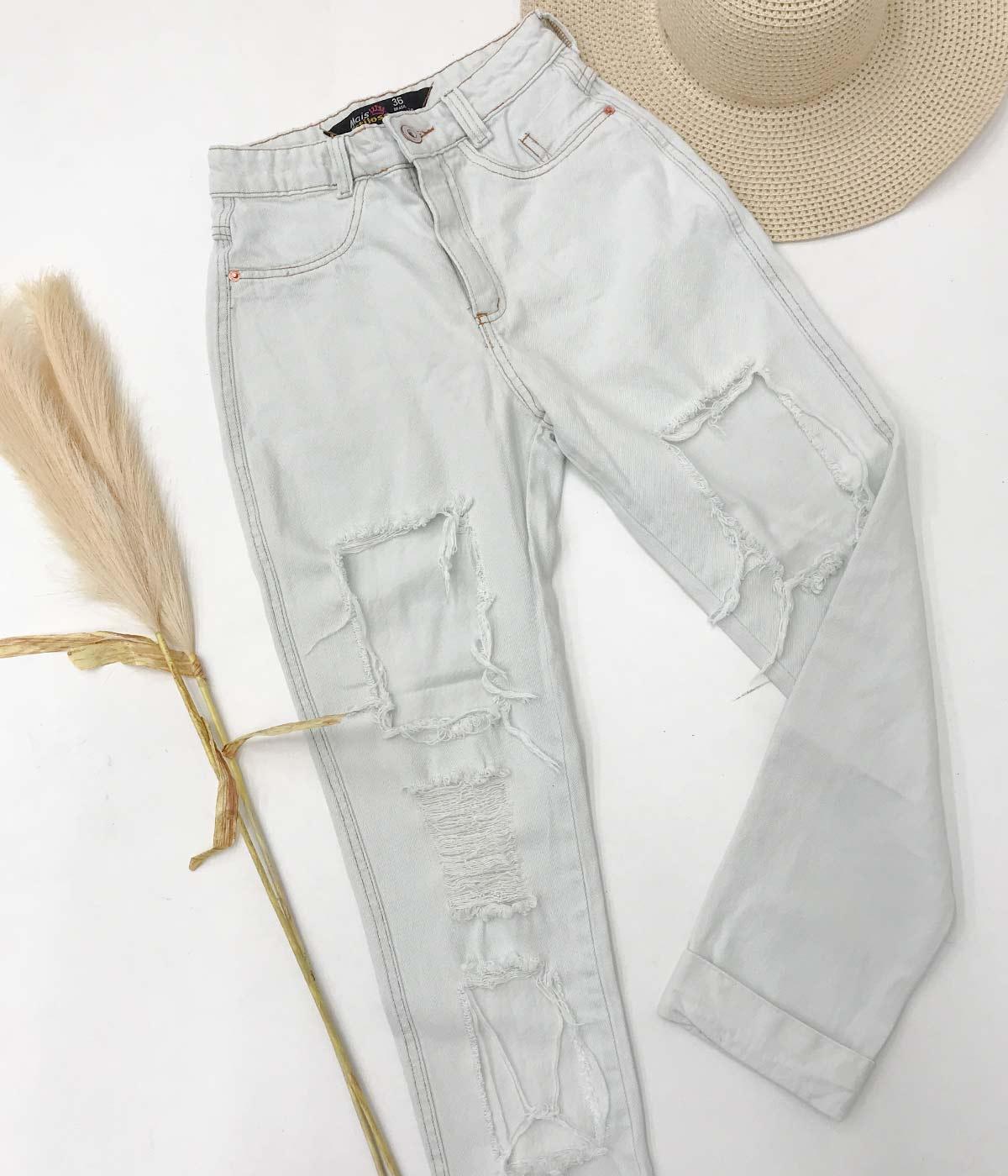 Calça Mom Jeans Kyra Branco Gelo