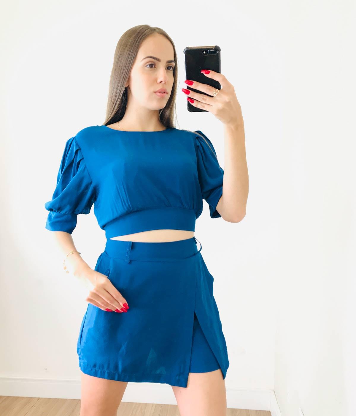 Conjunto Curto Viscose Sibele Azul Royal