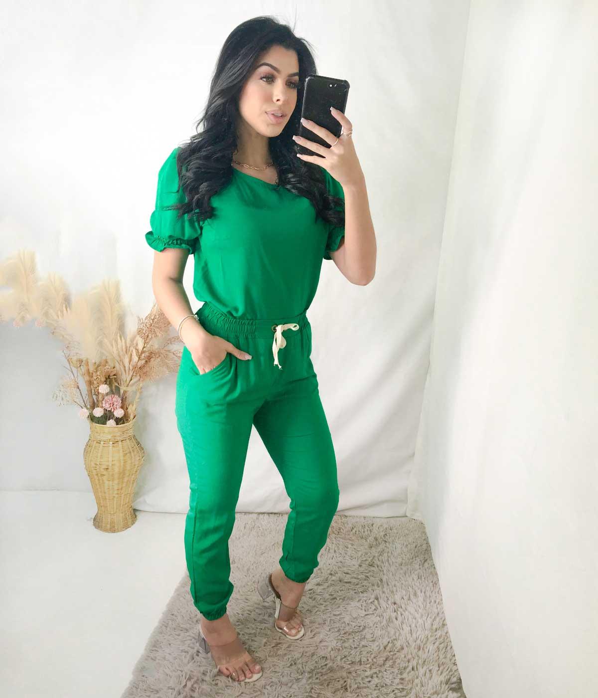 Conjunto Viscolinho Ilhós Verde Bandeira