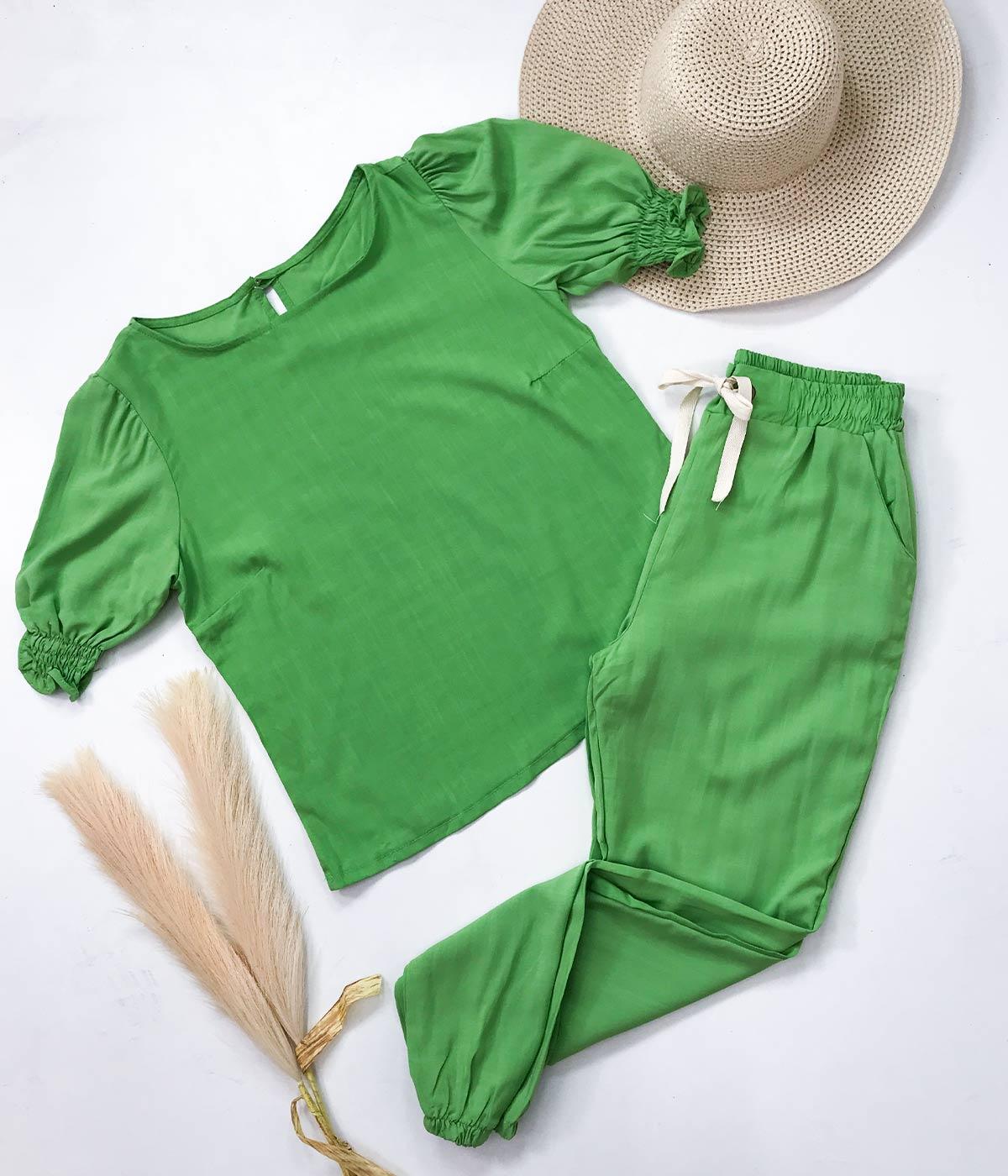 Conjunto Viscolinho Ilhós Verde Limão
