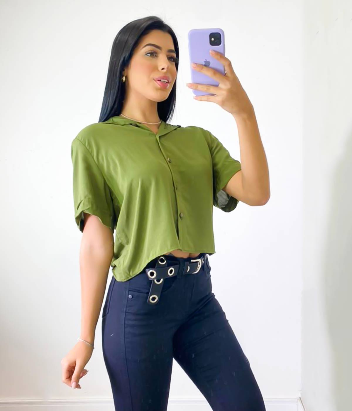 Cropped Botões Verde