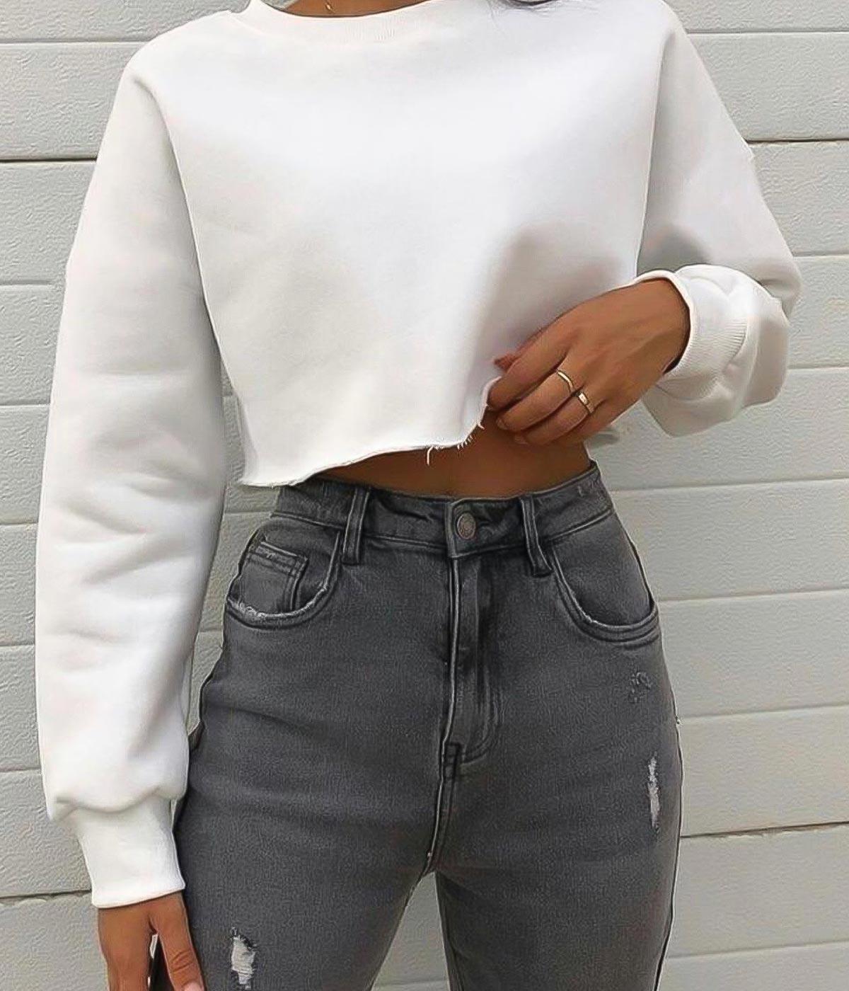 Cropped Moletom Branco
