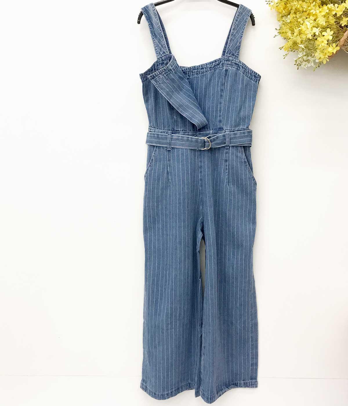 Jardineira Jeans Listrada