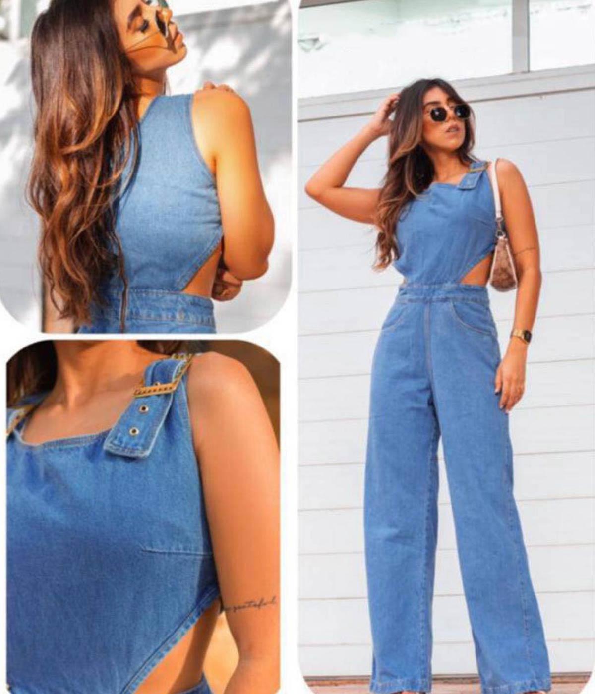 Macacão Jeans Pantalona Recorte Lateral Gisele