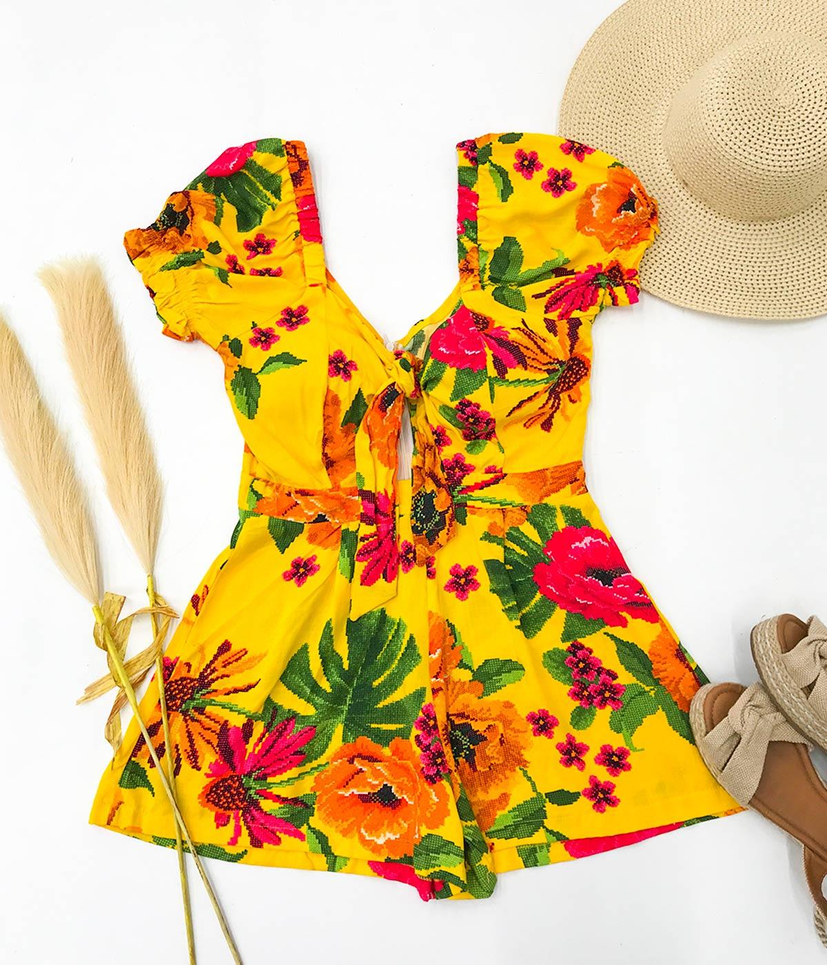 Macaquinho Floral Amarração Frontal Amarelo