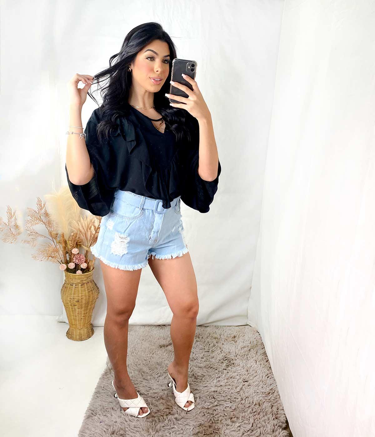 Short Jeans Claro Barra Desfiada