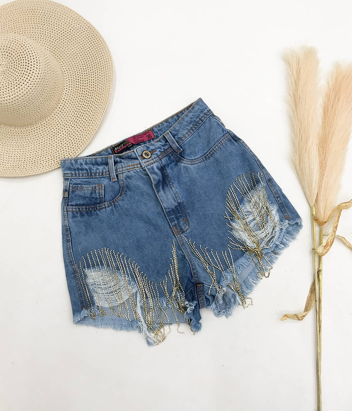 Short Jeans Claro Detalhe Strass