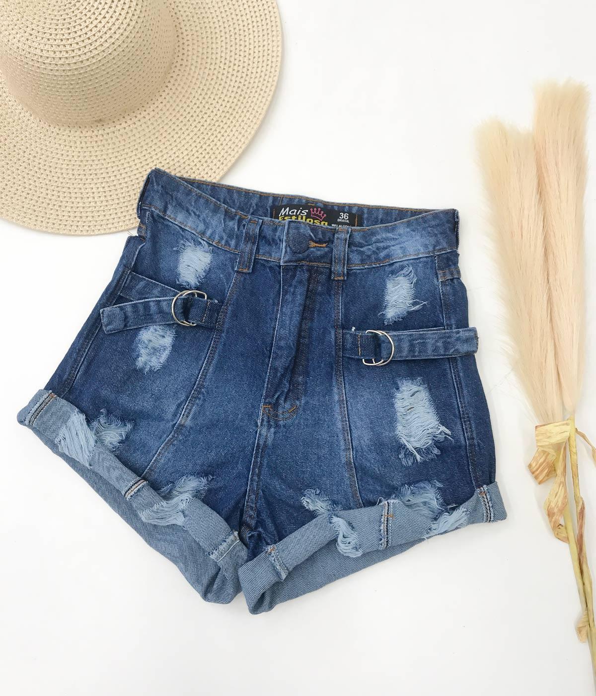 Short Jeans Escuro Regulagem Lateral