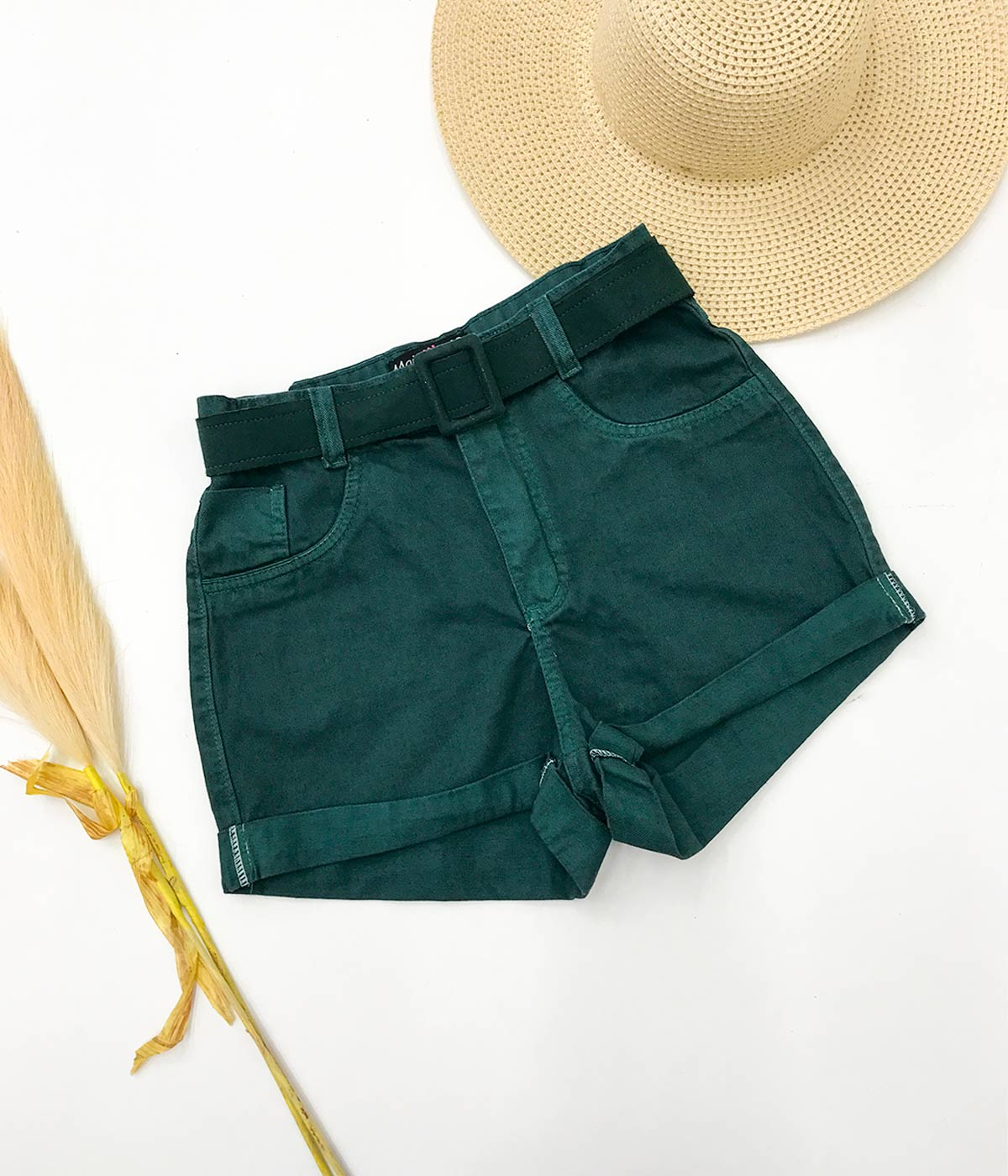 Short Jeans Verde Petróleo Raquel