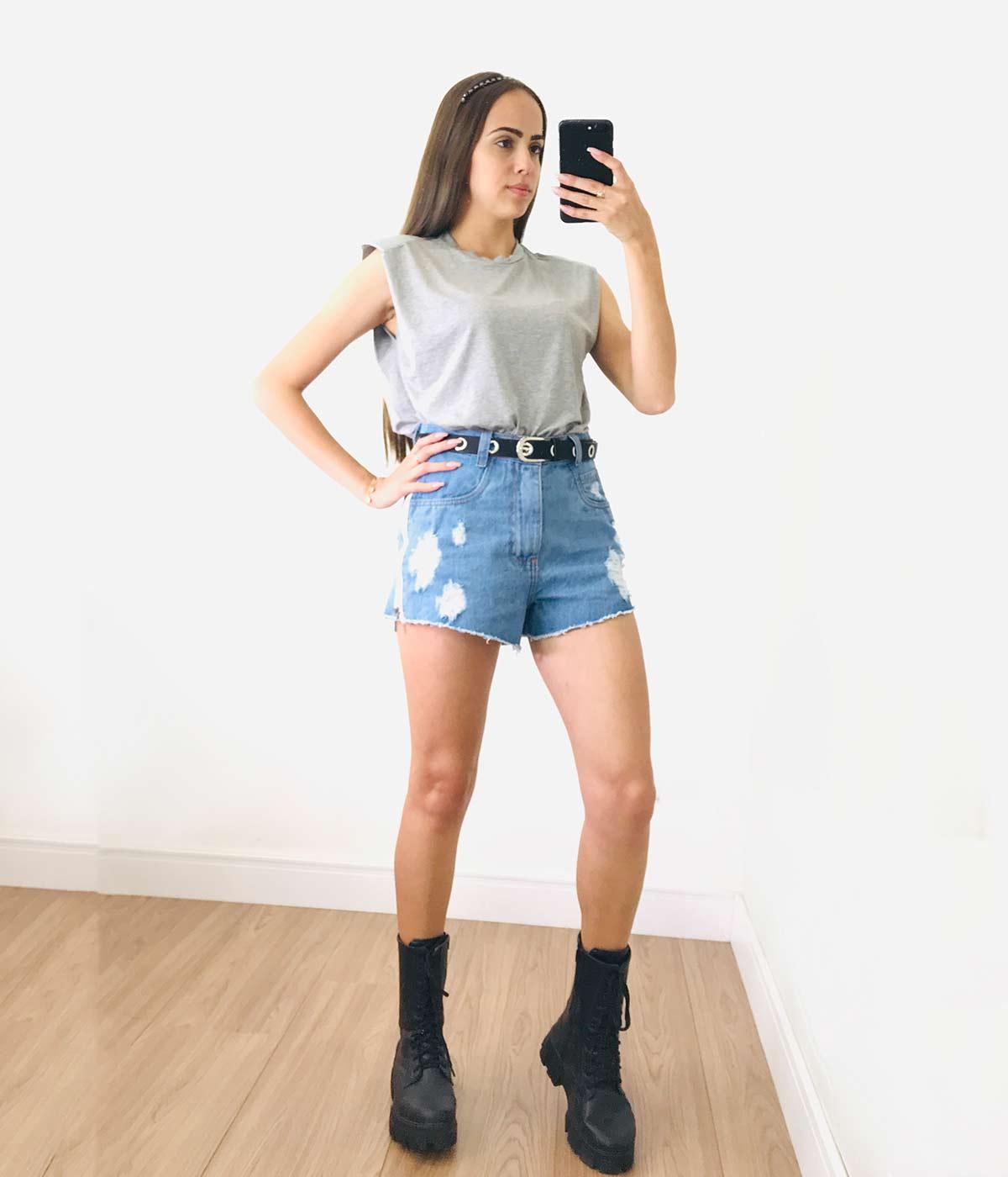 Short Jeans Zíper Lateral