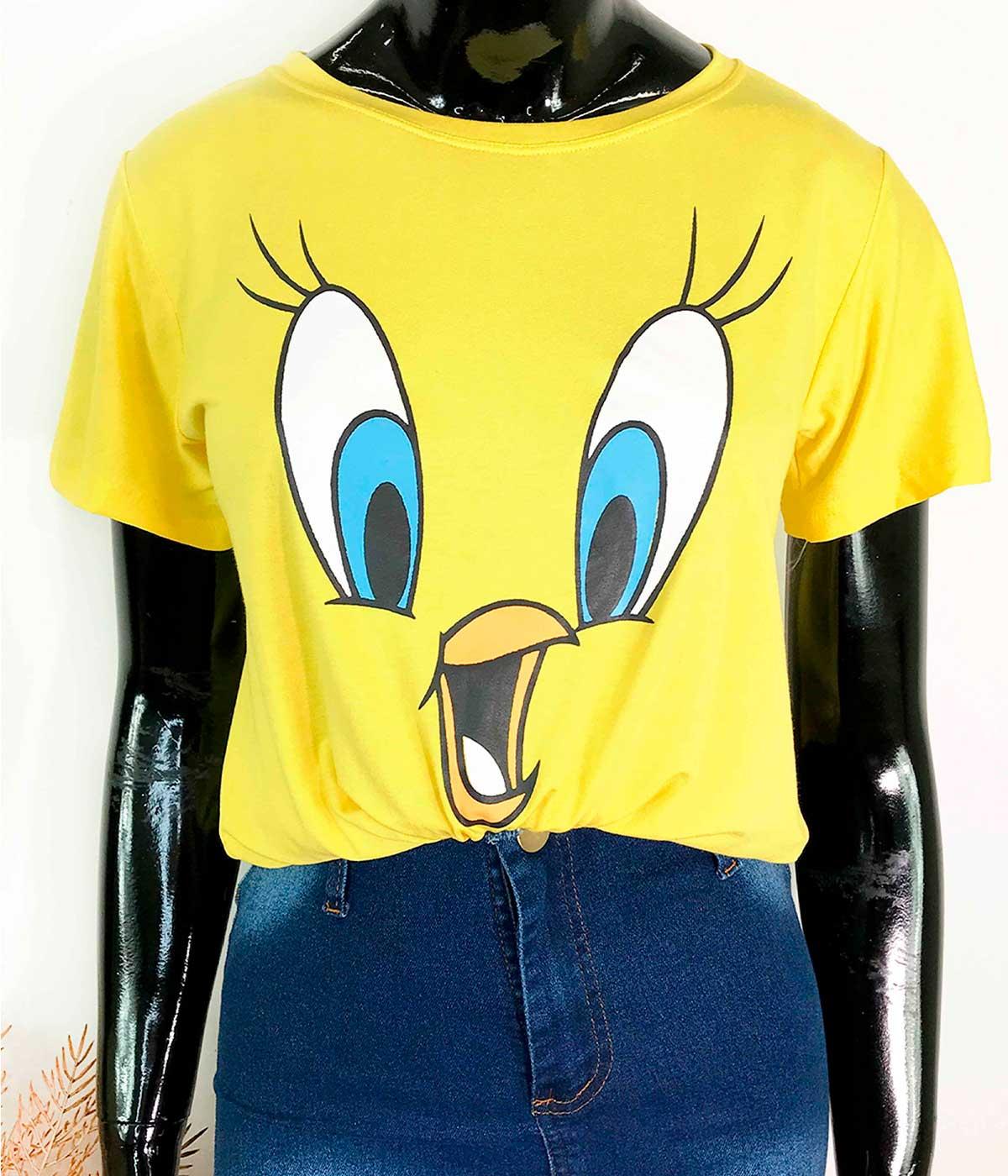 """T-Shirt """"Acho Que Vi Um Gatinho"""" Amarelo"""