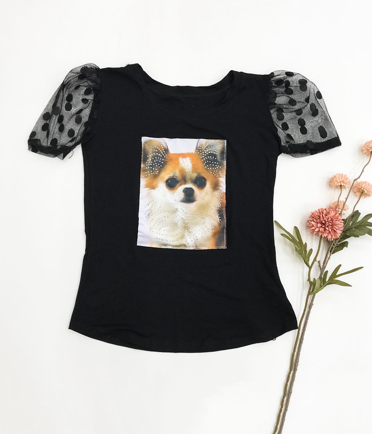 T-Shirt Aplicações Cachorro Preta