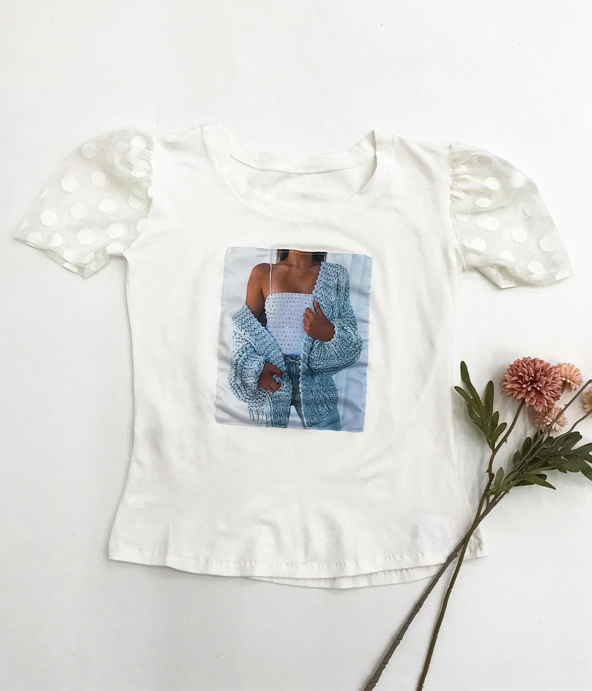 T-Shirt Aplicações Casaco Manga Tule Off White