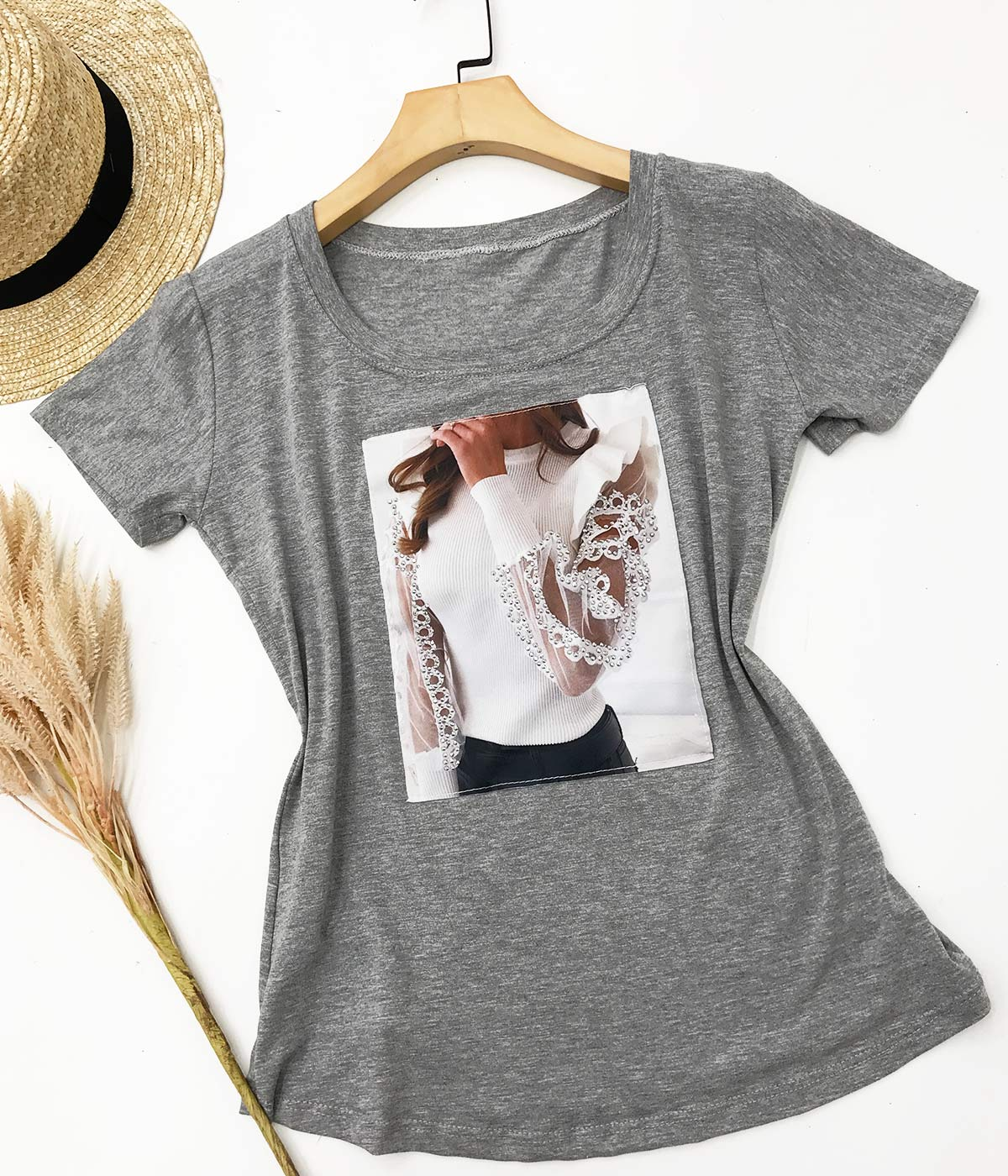 T-Shirt Aplicações Menina Cinza