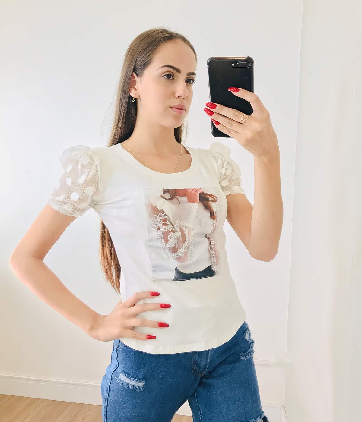 T-Shirt Aplicações Menina Manga Tule Off White
