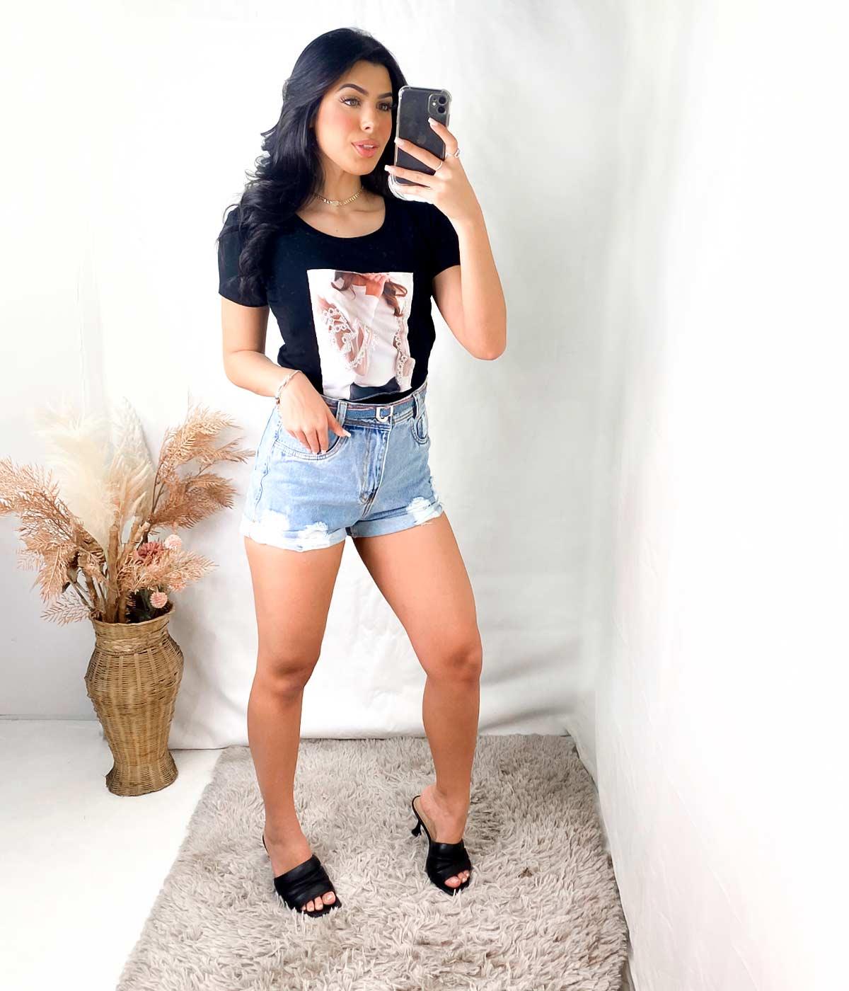 T-Shirt Aplicações Menina Manga Tule Preto