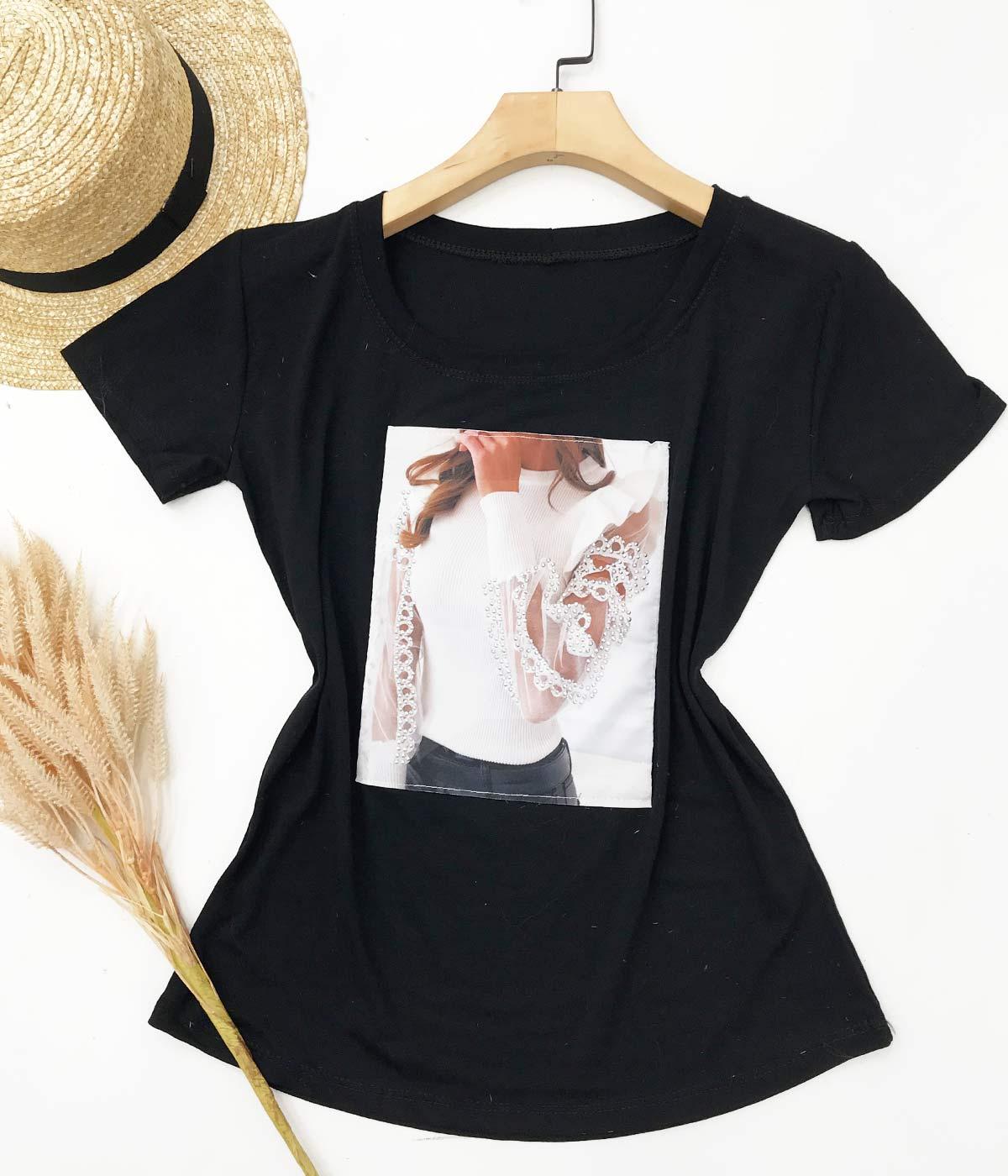 T-Shirt Aplicações Menina Preta