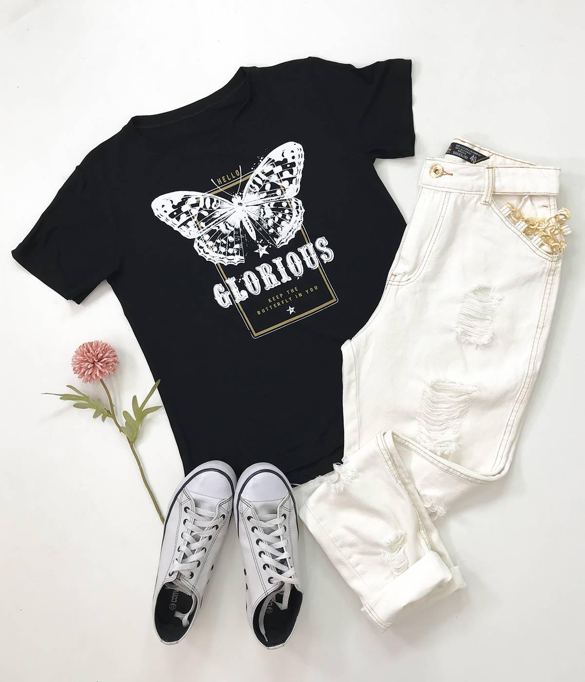 T-Shirt Butterfly Preta
