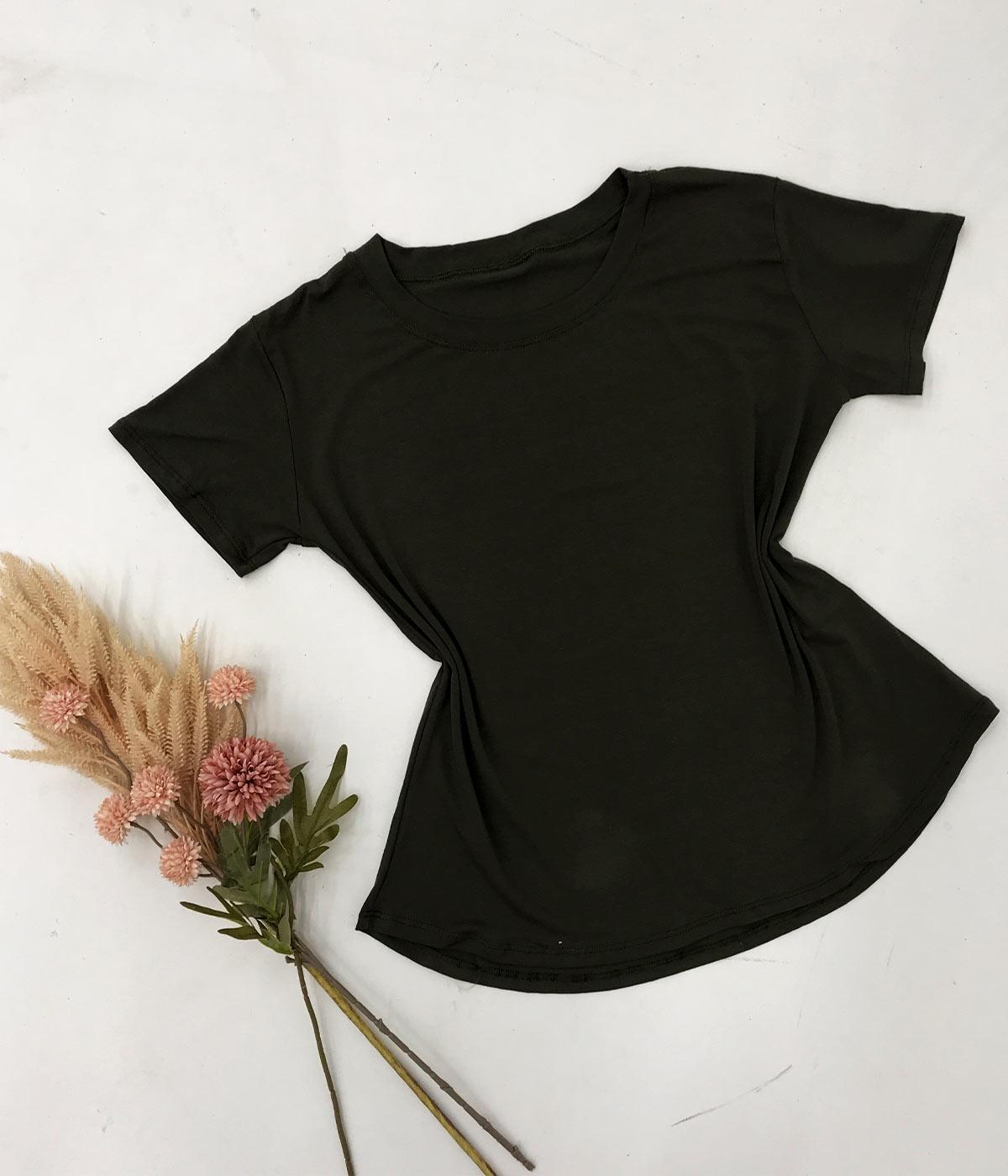 T-Shirt Malha Lisa Verde Militar