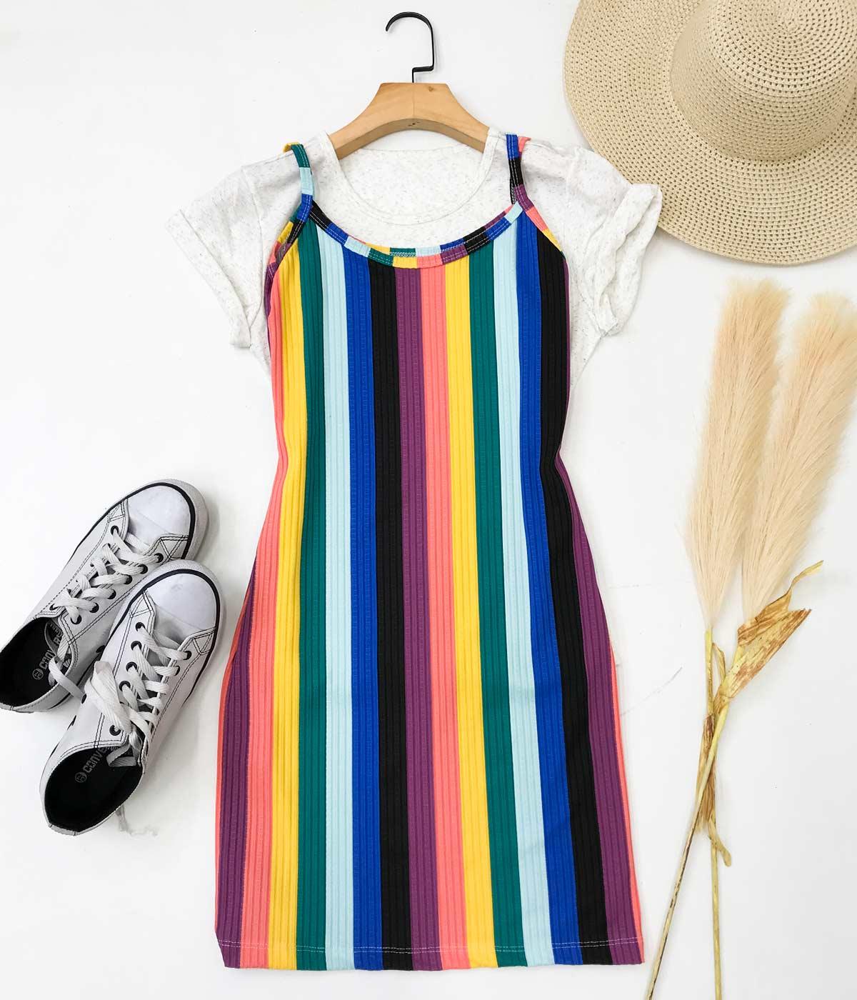 Vestido Canelado Alcinha Listras Arco-Íris