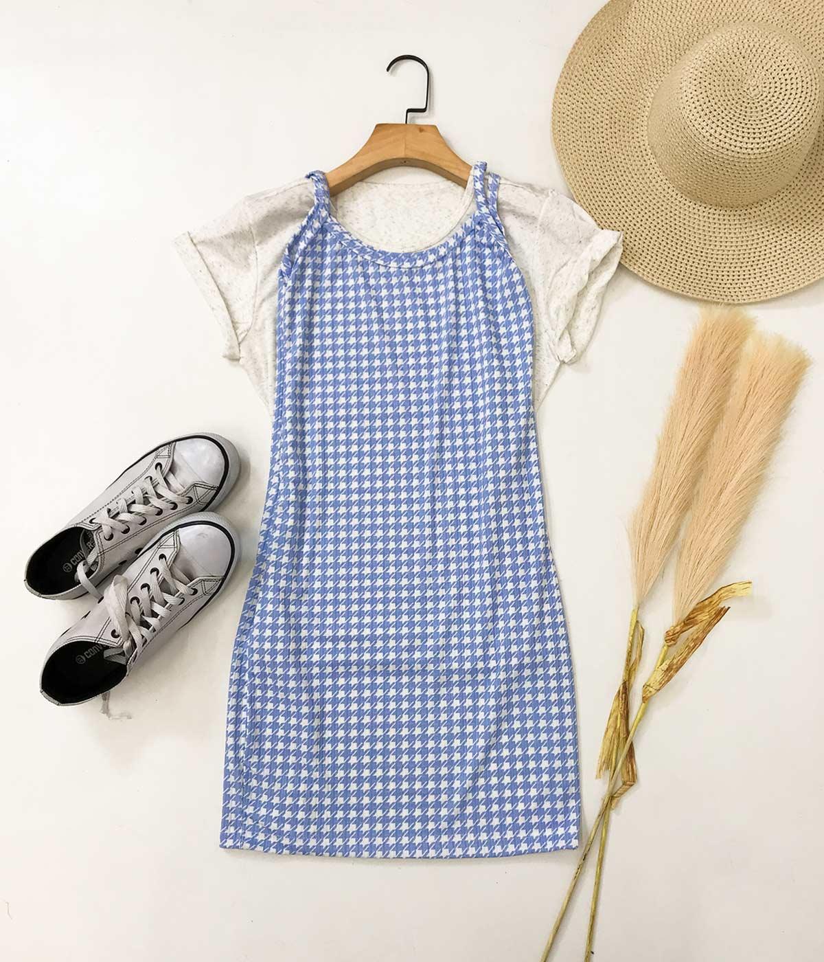 Vestido Canelado Alcinha Pied Poule Azul Claro