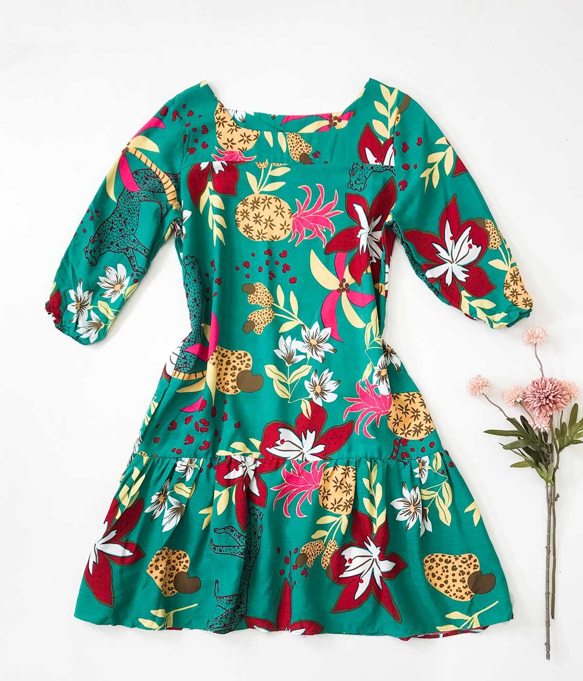 Vestido Curto Babado Verde