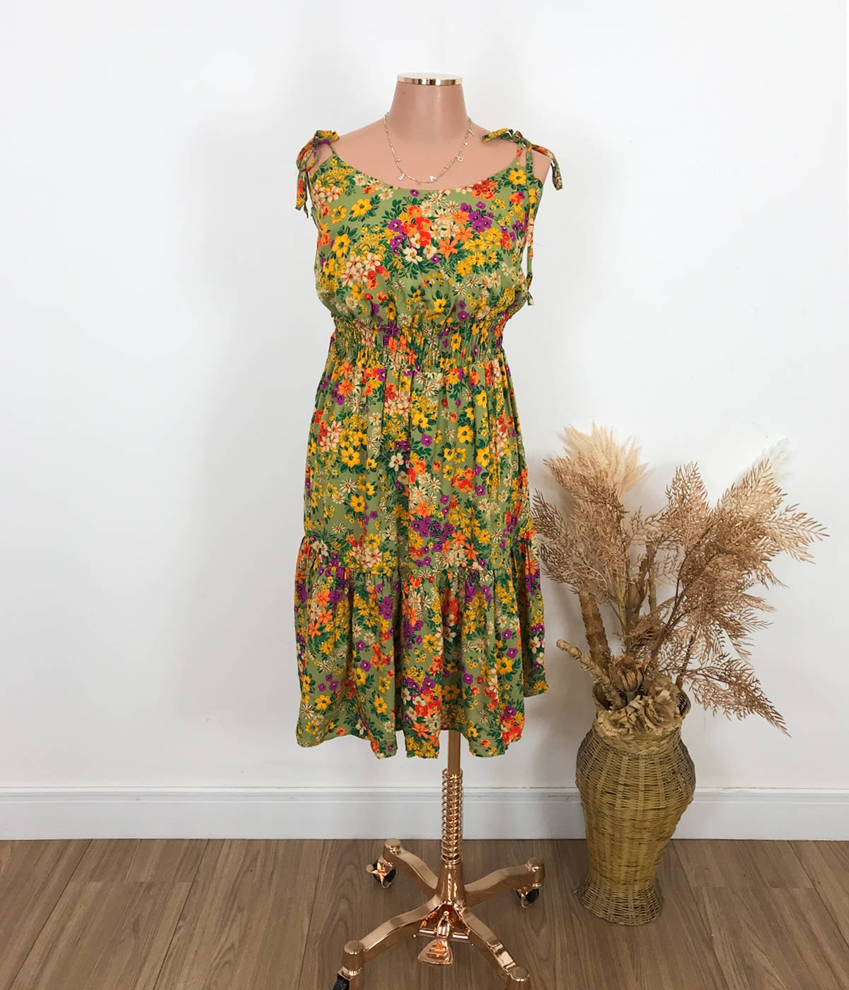 Vestido Curto Lastex Floral Verde Musgo