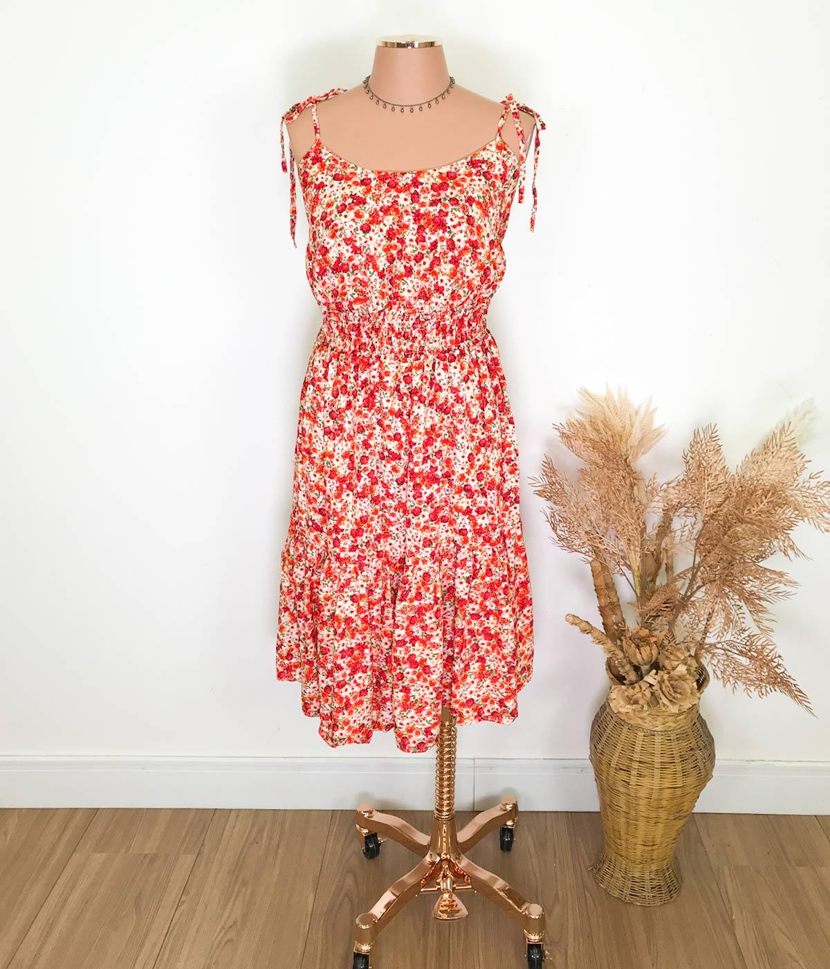 Vestido Curto Lastex Floral Vermelho