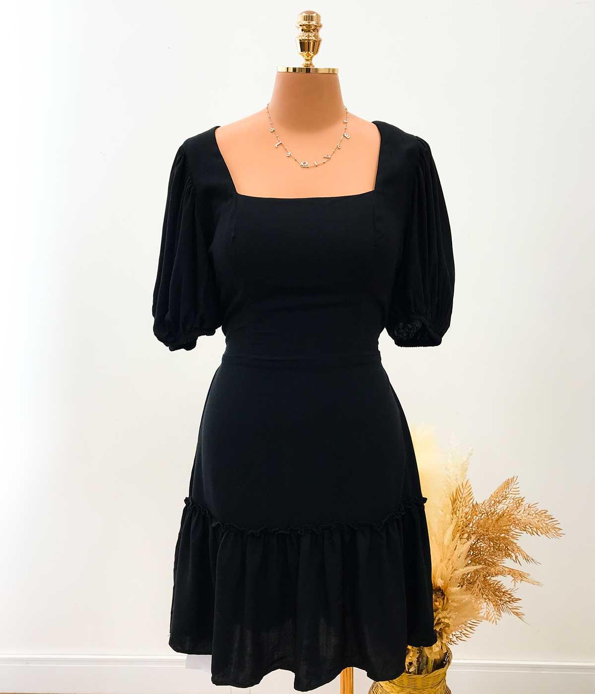 Vestido Decote Quadrado Com Bojo Preto