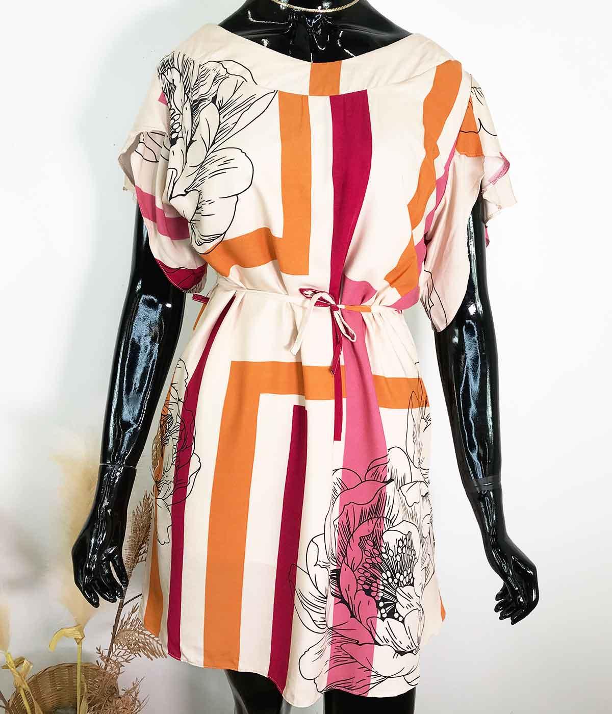 Vestido Flor Bege