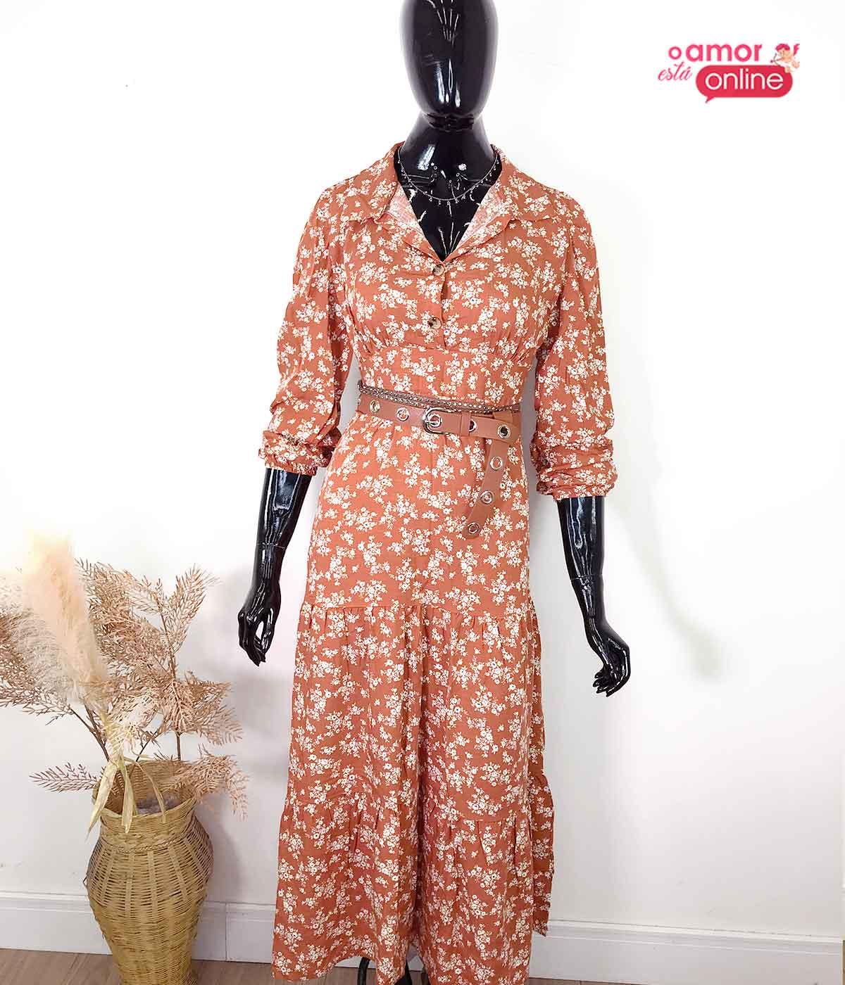 Vestido Floral Caramelo