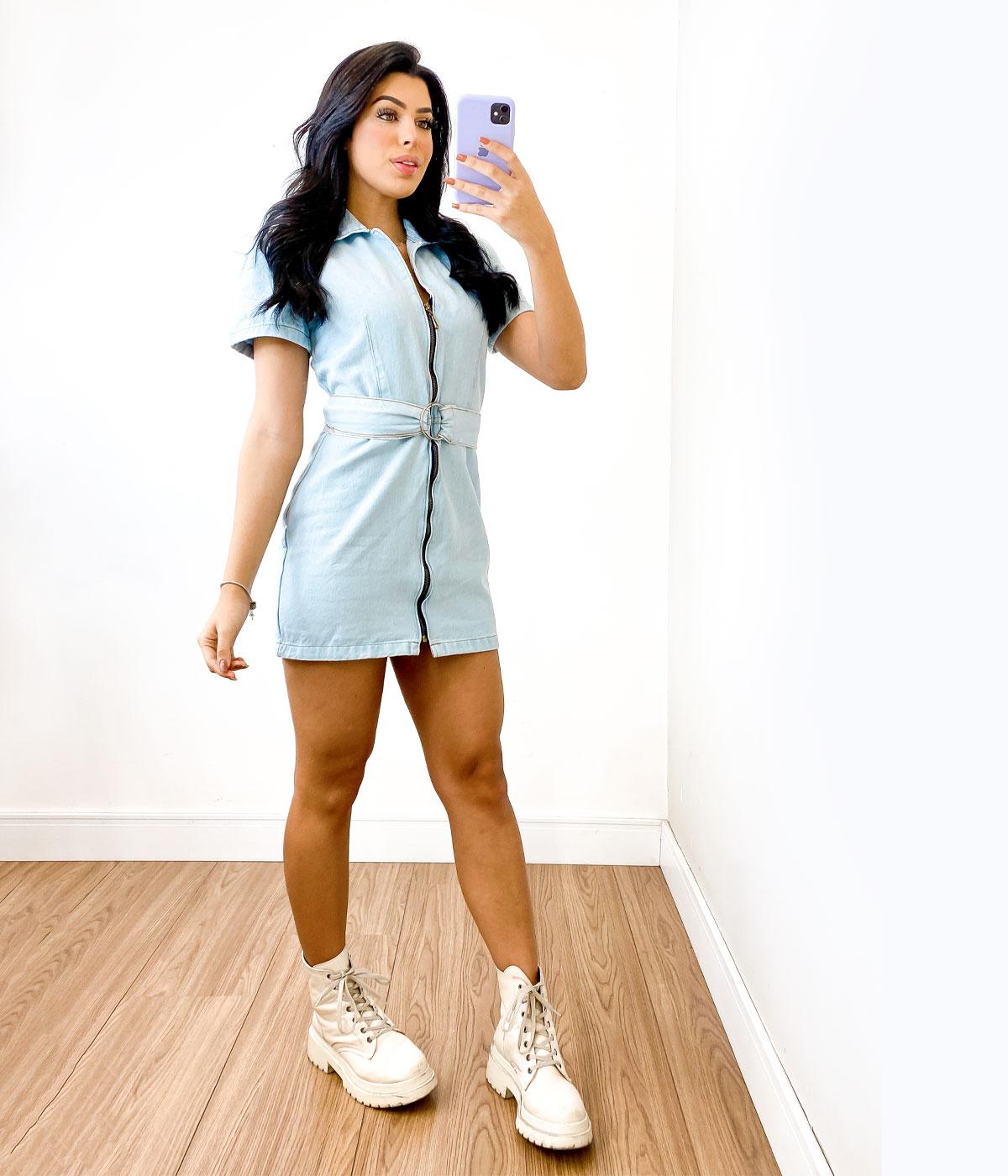 Vestido Jeans Curto Com Zíper