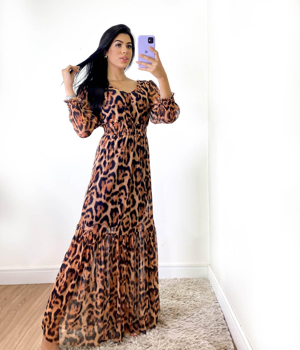 Vestido Longo Animal Print Onça